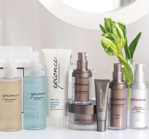 A photo of a variety of epionce products is feature aligned on a counter top.
